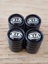 KIA DELUXE car Valve Alloy wheel dust Caps All models  Picanto Rio Cee'd BLACK