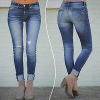 Plus Women Denim Jeans Pants Stretch Slim Leggings Pencil  Jeggings Trousers
