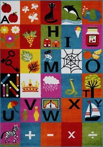 Alphabets Theme Adorable Soft Comfortable Area Rug Carpet in Multicolor FKDS1042