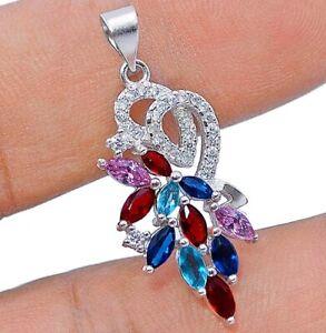 Fire Garnet & Multi-Gemstone 925 Solid Sterling Silver Pendant Jewelry