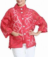 IC by Connie K Womens Jacket Red Large L Geo Burnout Asymmetrical Hem $158 865
