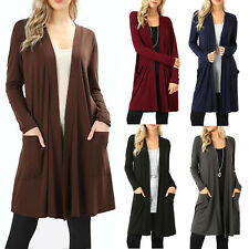 2f81dbd6ba Womens Open Front Fly Away Cardigan Sweater Long Sleeve With Pockets Loose  Drape