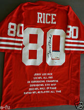 JERRY RICE Signed San Francisco 49ers #80 Red Stat Jersey Auto PSA/DNA Autograph