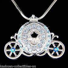 w Swarovski Crystal ~Blue Princess Cinderella Pumpkin Carriage~ Pendant Necklace