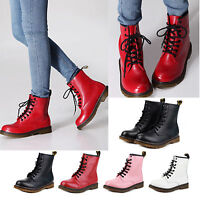 Womens Winter Combat Boots PU Leather Military Lace Up Motorcycle Shoes Size 5-8