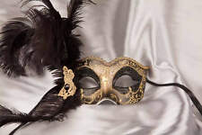 Side Feather Venetian Masquerade Masks - Semplice Gold