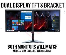 "DELL 2 x 19"" Cheap Monitor VGA TFT LCD Office Laptop Gaming Computer PC Dual"