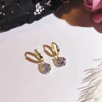 4Ct Round Cut Moissanite Attractive Drop/Dangle Earrings 14K Yellow Gold Finish