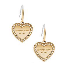 Michael Kors Crystal Trim Heart Logo Drop Earrings MKJ5395710 Mkj5395