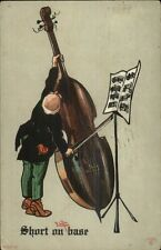 Bald Musician Giant Base SHORT OF BASE Pun - R. Lillo c1910 Postcard