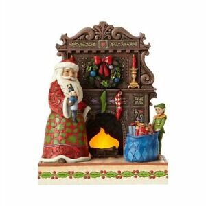 Jim Shore Heartwood Creek Santa by Lighted Fireplace Masterpiece 4055047
