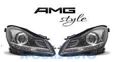 2012-2014 MERCEDES BENZ W204 C CLASS C63 AMG STYLE LED HEADLIGHTS BLACK - SET