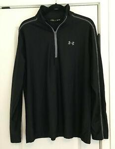 EUC Men's Black UNDER ARMOUR 1/2 Zip Long Sleeve Top Size L