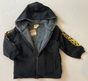 NWT 4 4T Gymboree Crazy 8 Black Flame Sleeve Faux Fur Lined Hoodie Sweatshirt
