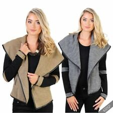 Cotton Blend Casual Solid Coats, Jackets & Vests for Women