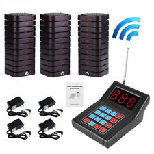 1* Restaurant Calling Pager Paging Equipment Transmitter+30 Coaster Pagers Set