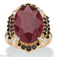 14K GOLD OVER STERLING SILVER RUBY AND BLACK SPINEL RING SIZE 6 7 8 9