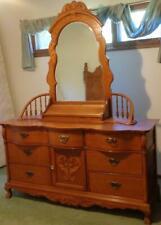 Amazing Lexington Oak Finish Triple Dresser with Spindle Mirror & Box - VGC