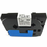Fit for Brother P-Touch Laminated Tze Tz Label Tape 6mm Black on White