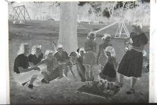 (2) B&W Press Photo Negative Child Girl Women Park Playground Stick Game T584