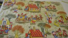 CHARMING 1950S VINTAGE CHILDREN'S FAIRY TALE FABRIC SS384