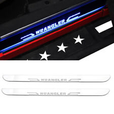 1Set Illuminated LED Moving Light Door Entry Guards Sill Plate for Jeep Wrangler
