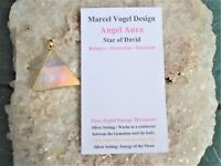 Vogel Angel-Opal Aura Quartz Pendant-18K Gold on Silver Setting-Energy+Sun-Moon