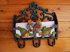 Cast Iron Parrot Bird Wall Hanging Letter Card Mail Holder Keeper With Hooks