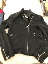 Rebecca Taylor Tweed Boucle Moto Black Zipper Jacket Size 10