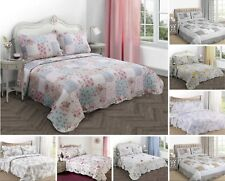 Luxurious Quilted Bedspread Throws Vintage Patchwork Scallop Edged Single Double