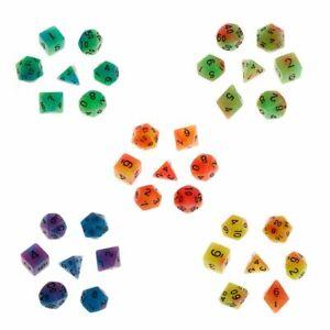 7 Pcs Colorful Polyhedral Sided Dice D4 D6 D8 D10 D12 D20 Set For D&D Board Game