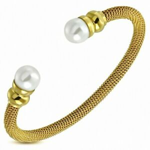 Bracelet Cuff Round Torc Stainless Steel Golden With Pearl