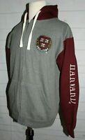 HARVARD VE RI TAS Licensed Gear Gray/Maroon Zip Stitched Hoodie Sweatshirt  XL