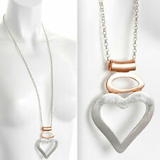 Lagenlook matte finish rose gold & silver large heart pendant long necklace