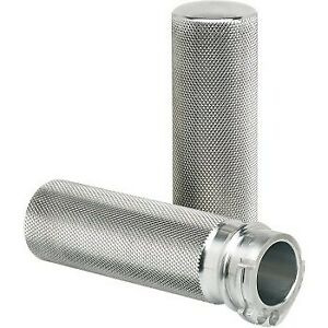 """Joker Raw Silver Knurled Hand Grips for Harley 96-17 1"""" Cable Op Throttle"""