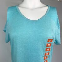 Free 2B Womens Size Medium Active T-Shirt Wave Blue Burnout Detail Short Sleeves