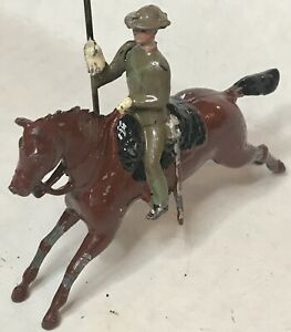1930 Britains Toy Soldiers 21st Lancers Cavalryman Khaki Uniform Steel Helmet