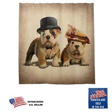 Bulldog Dog Old English Fashion Couple Art Brown Bathroom Fabric Shower Curtain