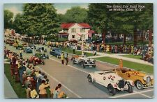 Postcard NY Watkins Glen The Grand Prix Road Auto Race c1950s Vintage Linen S10