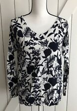 GAP Size Small Blue & White 100% Cotton V-Neck Long Sleeve Light Weight Sweater