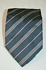 Brioni Navy and Silver Stripe Silk Tie, Italian Hand Made