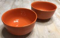 ROYAL NORFOLK Orange Ribbed Stoneware Bowls Cereal Dessert Soup Set of 2 Replace