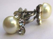 boucles d'oreilles à vis ancien bijou vintage couleur argent cristaux perle 2436
