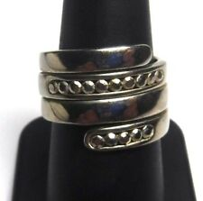 Mystery CI Designer Sterling Silver Spiral Wrap Band Ring, Size 7 1/2