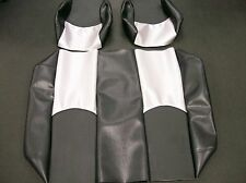 Yamaha G14-G19 Golf Cart Custom Vinyl Seat Covers-Front/Rear(Blk/Blk /Silver Cf)