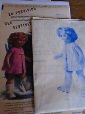 "T3 PATRON POUPEE ""MARIE FRANCOISE"" M & TRAVAUX"" ROBE ELEGANTE 1965"