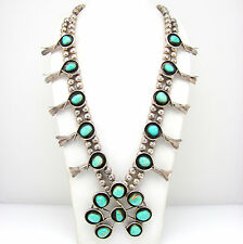 Vintage Navajo Sterling Silver & Turquoise Squash Blossom Naja Necklace  | G BMI