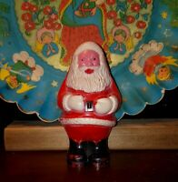 "1950s Vintage Hard Plastic Santa Christmas Rattle Ornament 4.5"" Bradford/Rosbro?"