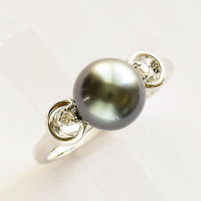 TAHITIAN PEARL DIAMOND RING 9mm CULTURED PEARL 14K 585 WHITE GOLD SIZE O1/2 NEW