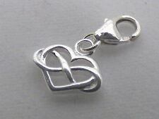 Infinity Heart Clip on Bracelet Charm - Sterling Silver 925 - Gift, Love